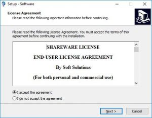 Software License Screenshot